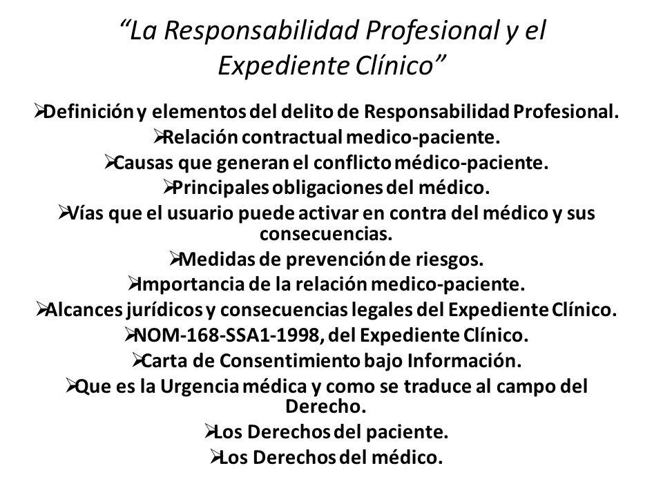 La Responsabilidad Profesional y el Expediente Clínico Definición y elementos del delito de Responsabilidad Profesional.