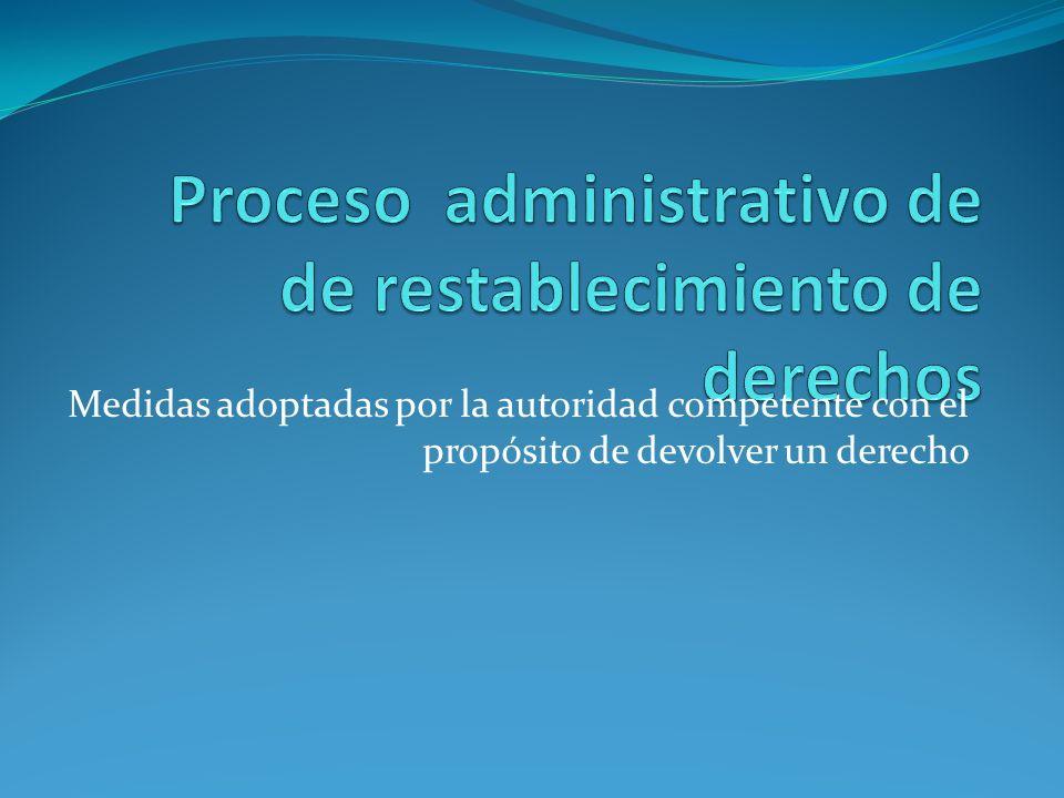Medidas adoptadas por la autoridad competente con el propósito de devolver un derecho