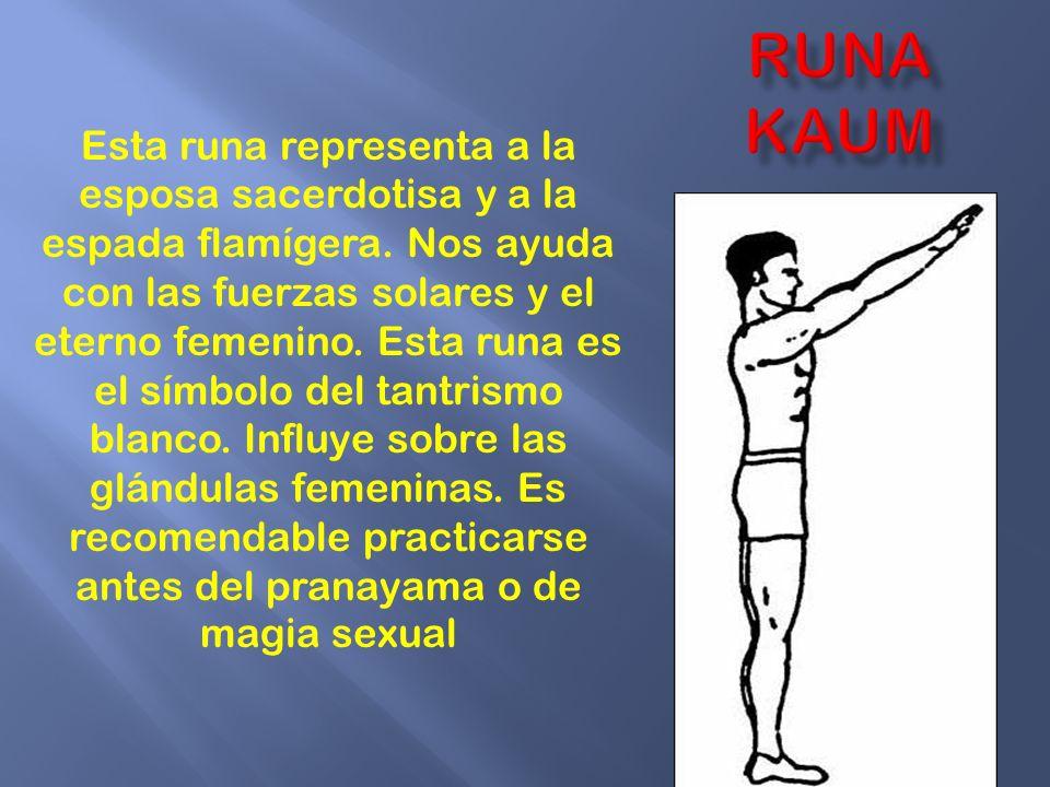 Esta runa representa a la esposa sacerdotisa y a la espada flamígera. Nos ayuda con las fuerzas solares y el eterno femenino. Esta runa es el símbolo