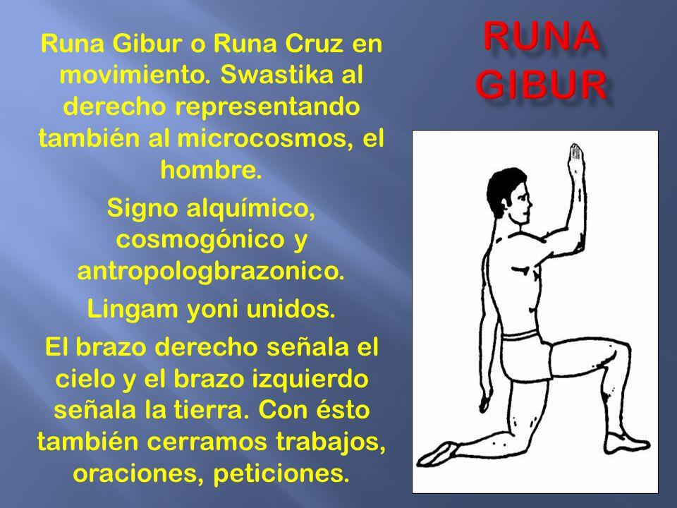 Runa Gibur o Runa Cruz en movimiento. Swastika al derecho representando también al microcosmos, el hombre. Signo alquímico, cosmogónico y antropologbr
