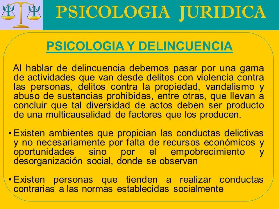 PSICOLOGIA JURIDICA PSICOLOGIA Y DELINCUENCIA Existen ciertos factores de tipo psicosocial que también favorecen el desarrollo de aptitudes delictivas por ejemplo el fracaso escolar, control inadecuado por parte de los padres, sobre todo en el manejo de comportamientos impulsivos y de desinhibición, ambiente familiar generador de conductas antisociales.