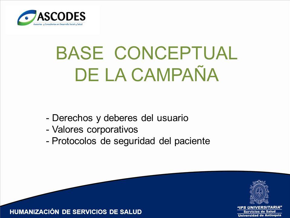 BASE CONCEPTUAL DE LA CAMPAÑA - Derechos y deberes del usuario - Valores corporativos - Protocolos de seguridad del paciente HUMANIZACIÓN DE SERVICIOS DE SALUD