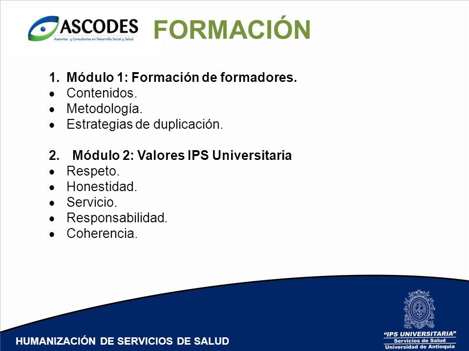 HUMANIZACIÓN DE SERVICIOS DE SALUD FORMACIÓN 1.Módulo 1: Formación de formadores. Contenidos. Metodología. Estrategias de duplicación. 2.Módulo 2: Val