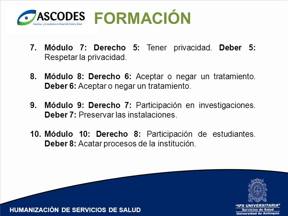 HUMANIZACIÓN DE SERVICIOS DE SALUD FORMACIÓN 7.Módulo 7: Derecho 5: Tener privacidad. Deber 5: Respetar la privacidad. 8.Módulo 8: Derecho 6: Aceptar