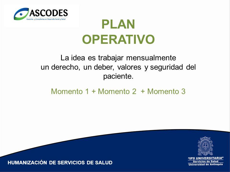 PLAN OPERATIVO La idea es trabajar mensualmente un derecho, un deber, valores y seguridad del paciente. Momento 1 + Momento 2 + Momento 3 HUMANIZACIÓN