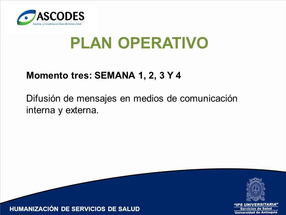 PLAN OPERATIVO Momento tres: SEMANA 1, 2, 3 Y 4 Difusión de mensajes en medios de comunicación interna y externa. HUMANIZACIÓN DE SERVICIOS DE SALUD