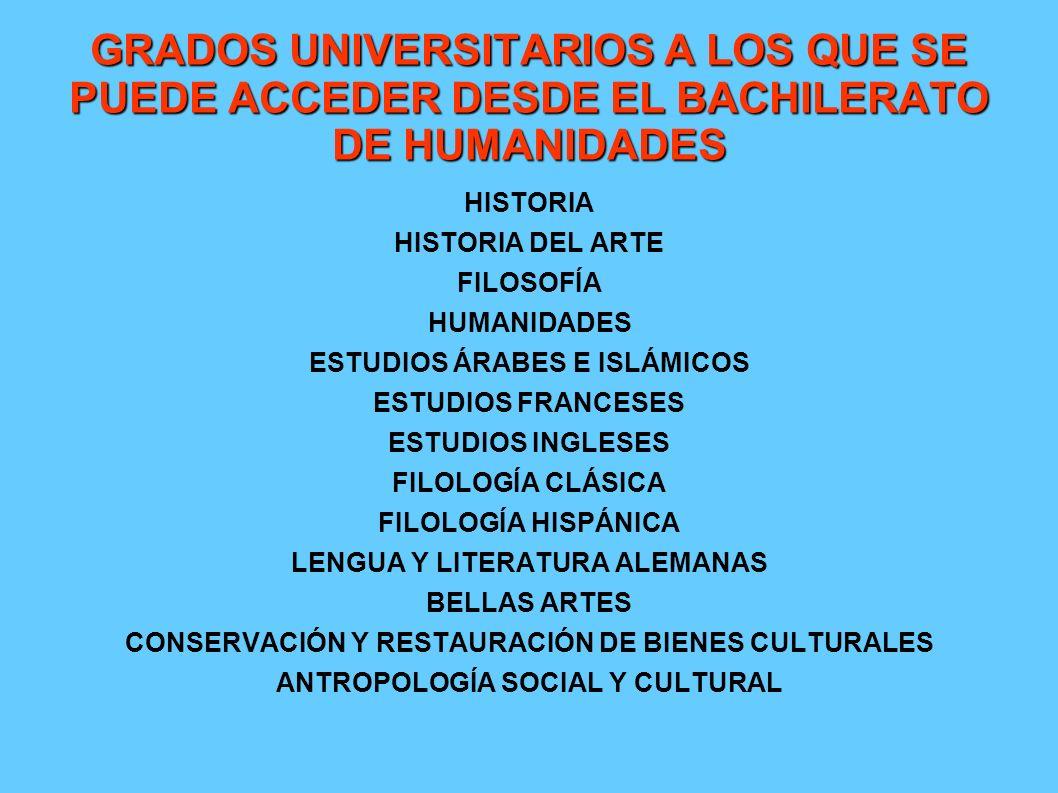 GRADOS UNIVERSITARIOS A LOS QUE SE PUEDE ACCEDER DESDE EL BACHILERATO DE HUMANIDADES HISTORIA HISTORIA DEL ARTE FILOSOFÍA HUMANIDADES ESTUDIOS ÁRABES