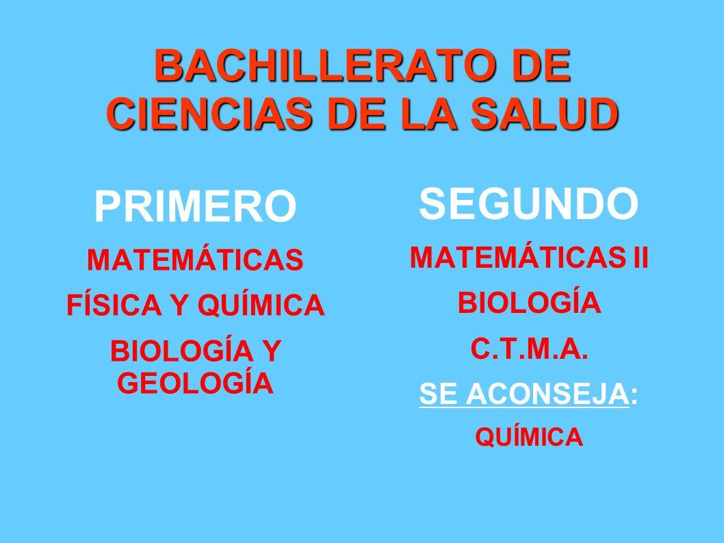BACHILLERATO DE CIENCIAS DE LA SALUD PRIMERO MATEMÁTICAS FÍSICA Y QUÍMICA BIOLOGÍA Y GEOLOGÍA SEGUNDO MATEMÁTICAS II BIOLOGÍA C.T.M.A. SE ACONSEJA: QU