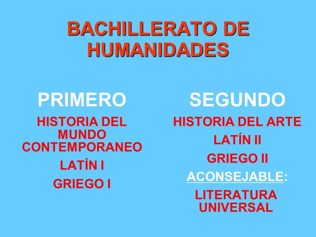 BACHILLERATO DE HUMANIDADES PRIMERO HISTORIA DEL MUNDO CONTEMPORANEO LATÍN I GRIEGO I SEGUNDO HISTORIA DEL ARTE LATÍN II GRIEGO II ACONSEJABLE: LITERA