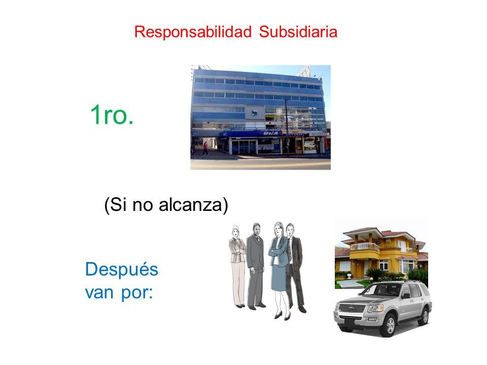 Sociedades Colectivas Ilimitada, solidaria y subsidiaria Por estatuto o cualquiera de los socios Cualquier socio o 3ro.