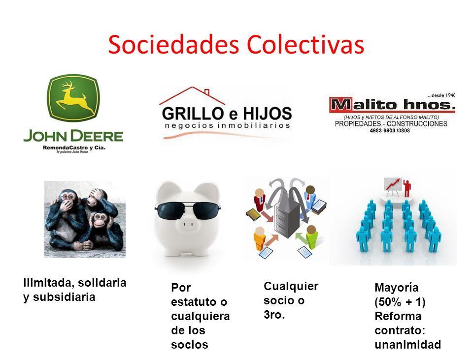 Sociedades Colectivas Ilimitada, solidaria y subsidiaria Por estatuto o cualquiera de los socios Cualquier socio o 3ro. Mayoría (50% + 1) Reforma cont