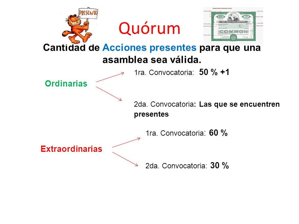 Quórum Cantidad de Acciones presentes para que una asamblea sea válida. Ordinarias Extraordinarias 1ra. Convocatoria: 50 % +1 1ra. Convocatoria : 60 %