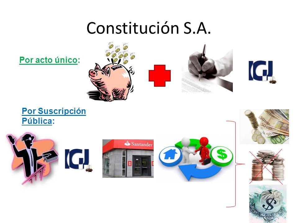 Constitución S.A. Por acto único: Por Suscripción Pública: