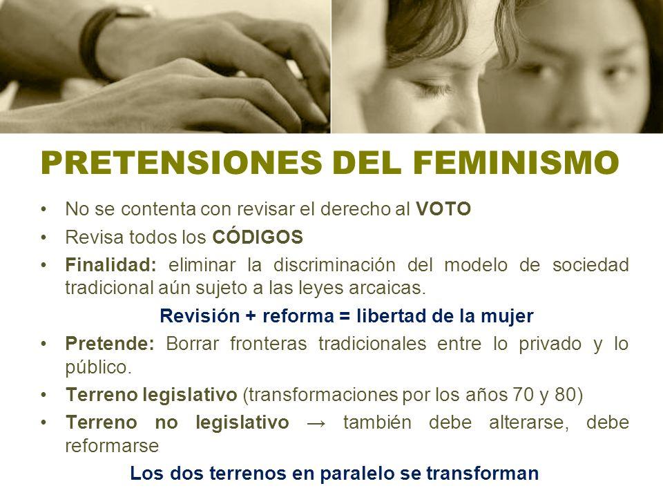 PRETENSIONES DEL FEMINISMO No se contenta con revisar el derecho al VOTO Revisa todos los CÓDIGOS Finalidad: eliminar la discriminación del modelo de sociedad tradicional aún sujeto a las leyes arcaicas.