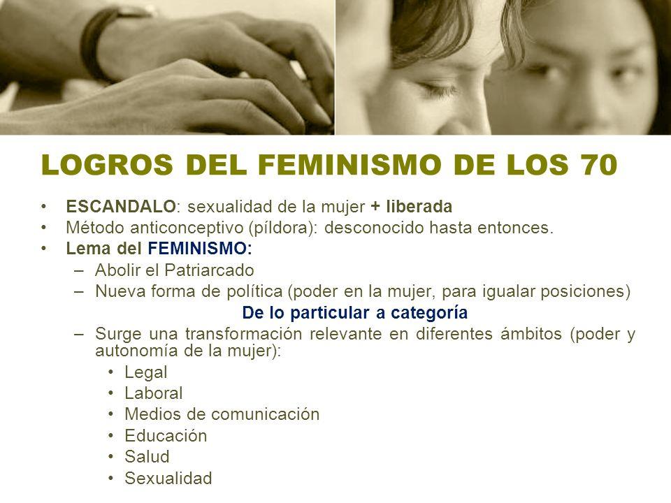 LOGROS DEL FEMINISMO DE LOS 70 ESCANDALO: sexualidad de la mujer + liberada Método anticonceptivo (píldora): desconocido hasta entonces. Lema del FEMI