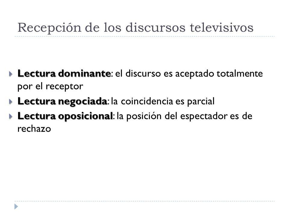 Recepción de los discursos televisivos Lectura dominante Lectura dominante: el discurso es aceptado totalmente por el receptor Lectura negociada Lectu