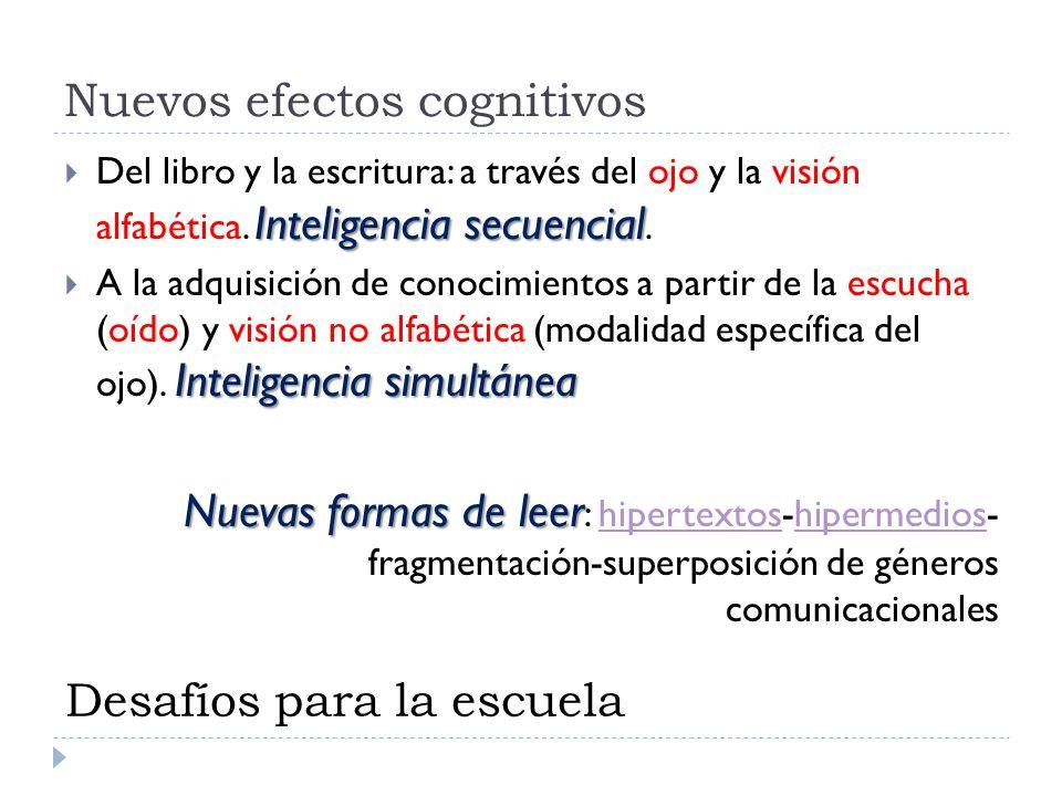 Nuevos efectos cognitivos Inteligencia secuencial Del libro y la escritura: a través del ojo y la visión alfabética. Inteligencia secuencial. Intelige