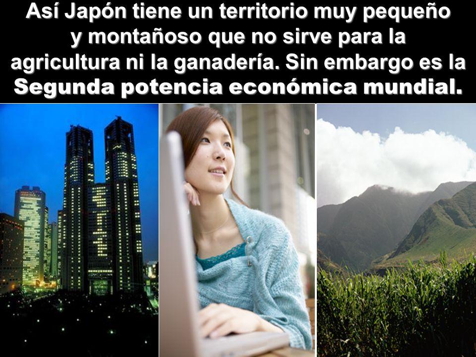 Así Japón tiene un territorio muy pequeño y montañoso que no sirve para la agricultura ni la ganadería. Sin embargo es la Segunda potencia económica m