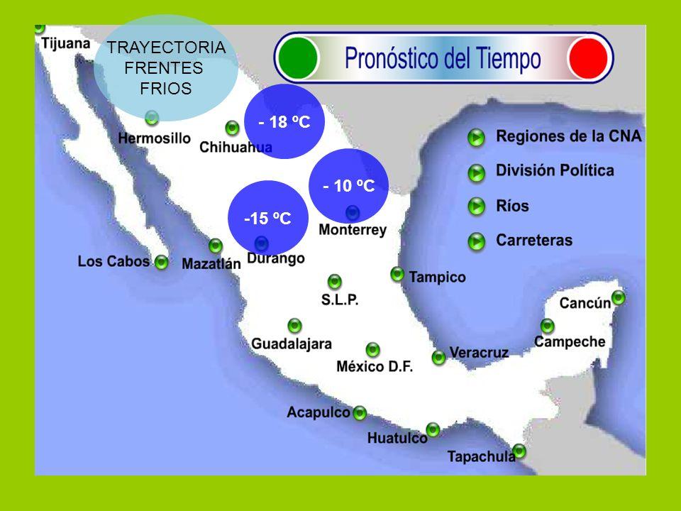 TRAYECTORIA FRENTES FRIOS - 18 ºC -15 ºC - 10 ºC
