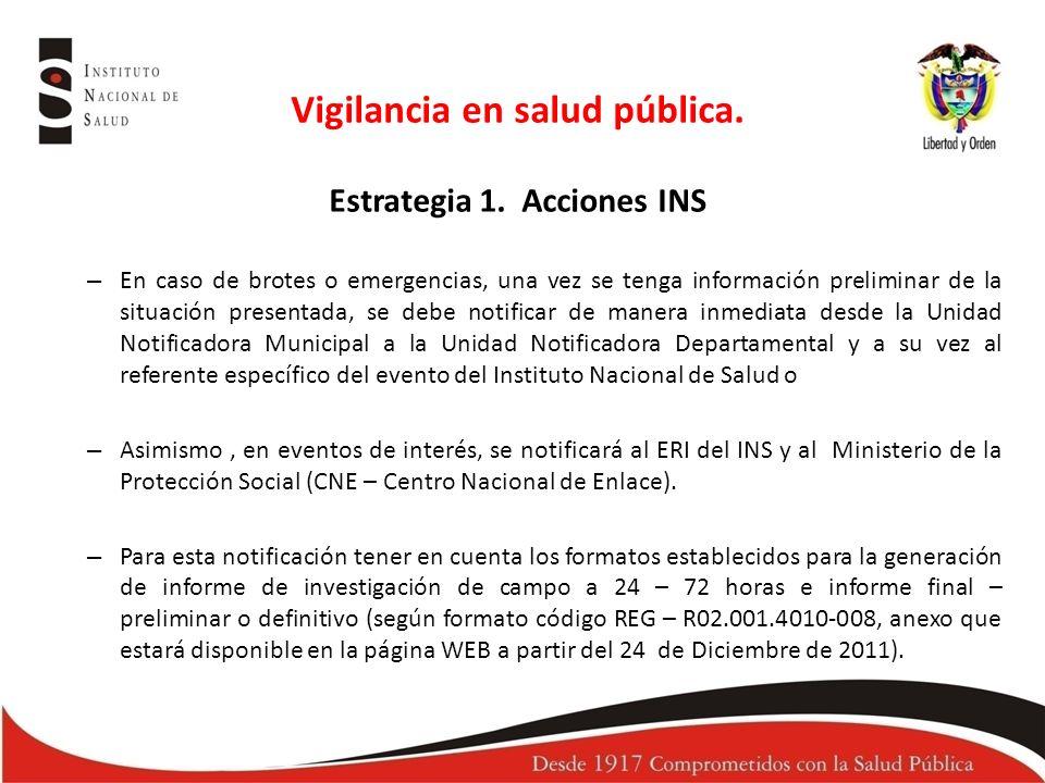 Vigilancia en salud pública.Estrategia 1.