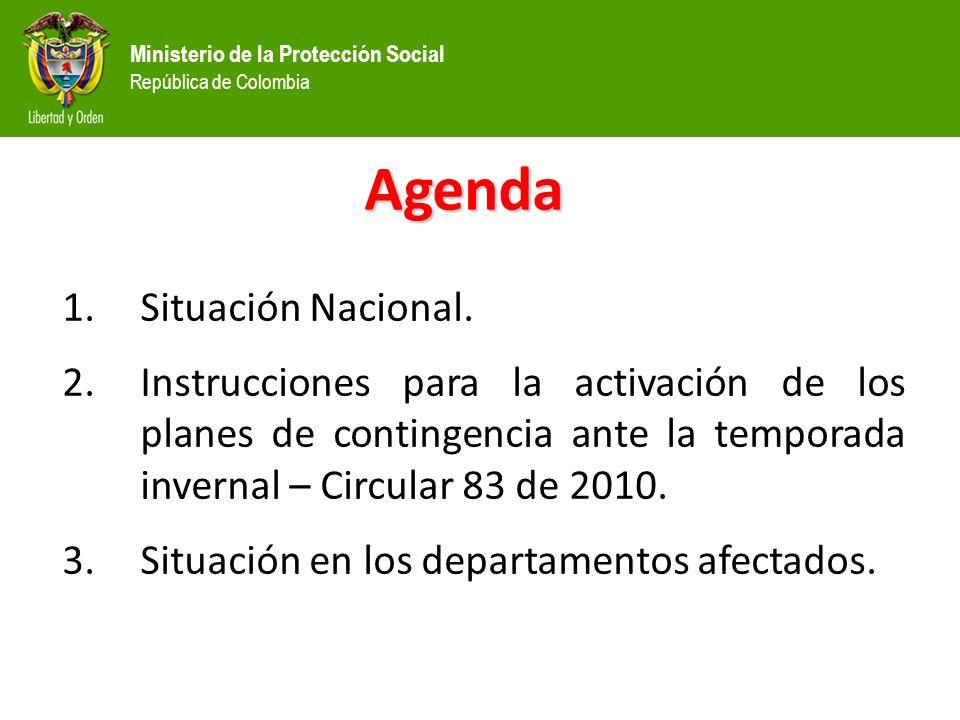 Ministerio de la Protección Social República de Colombia Agenda 1.Situación Nacional.
