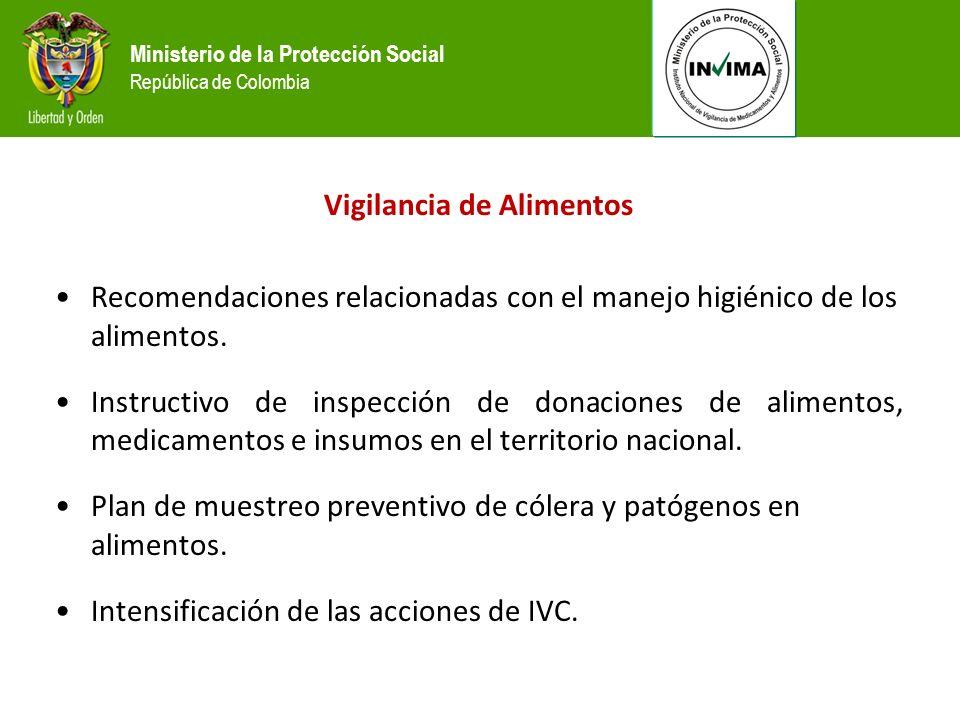 Ministerio de la Protección Social República de Colombia Vigilancia de Alimentos Recomendaciones relacionadas con el manejo higiénico de los alimentos.