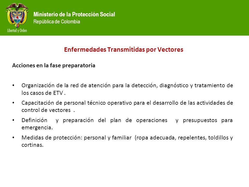 Ministerio de la Protección Social República de Colombia Acciones en la fase preparatoria Organización de la red de atención para la detección, diagnóstico y tratamiento de los casos de ETV.