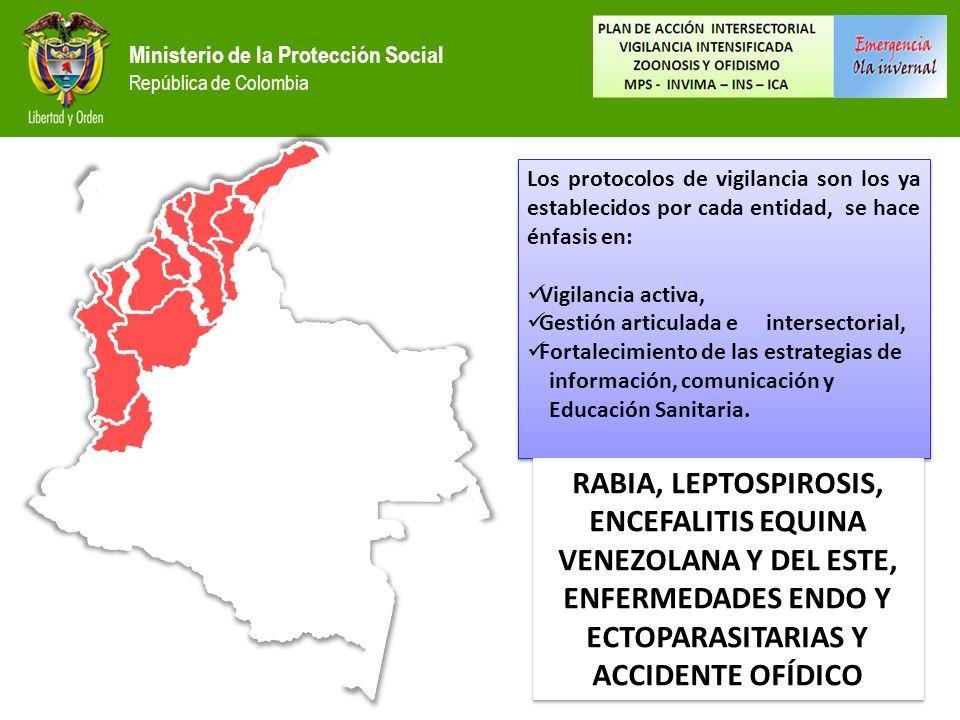 Ministerio de la Protección Social República de Colombia Los protocolos de vigilancia son los ya establecidos por cada entidad, se hace énfasis en: Vigilancia activa, Gestión articulada e intersectorial, Fortalecimiento de las estrategias de información, comunicación y Educación Sanitaria.