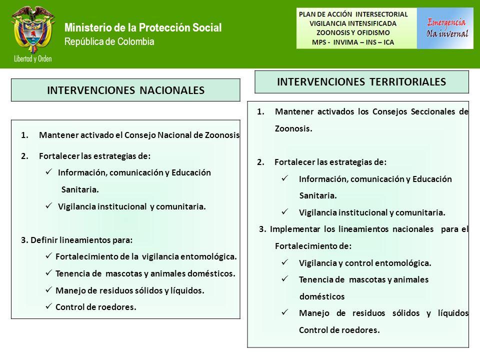 Ministerio de la Protección Social República de Colombia INTERVENCIONES NACIONALES 1.Mantener activado el Consejo Nacional de Zoonosis 2.Fortalecer las estrategias de: Información, comunicación y Educación Sanitaria.