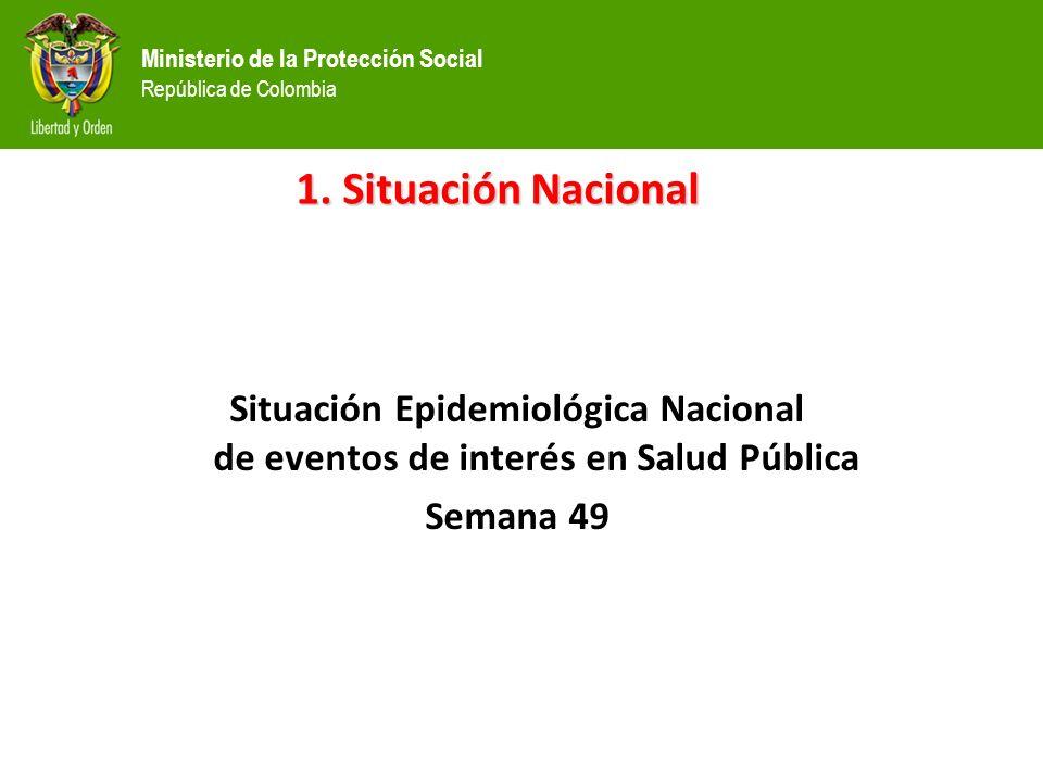 Ministerio de la Protección Social República de Colombia Situación Epidemiológica Nacional de eventos de interés en Salud Pública Semana 49 1.