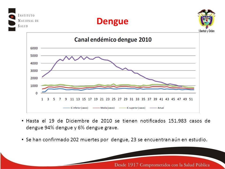Dengue Hasta el 19 de Diciembre de 2010 se tienen notificados 151.983 casos de dengue 94% dengue y 6% dengue grave.