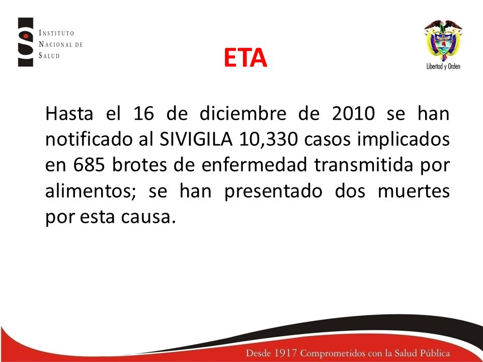 Hasta el 16 de diciembre de 2010 se han notificado al SIVIGILA 10,330 casos implicados en 685 brotes de enfermedad transmitida por alimentos; se han presentado dos muertes por esta causa.