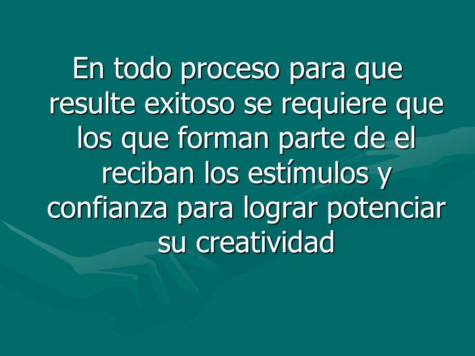 En todo proceso para que resulte exitoso se requiere que los que forman parte de el reciban los estímulos y confianza para lograr potenciar su creativ