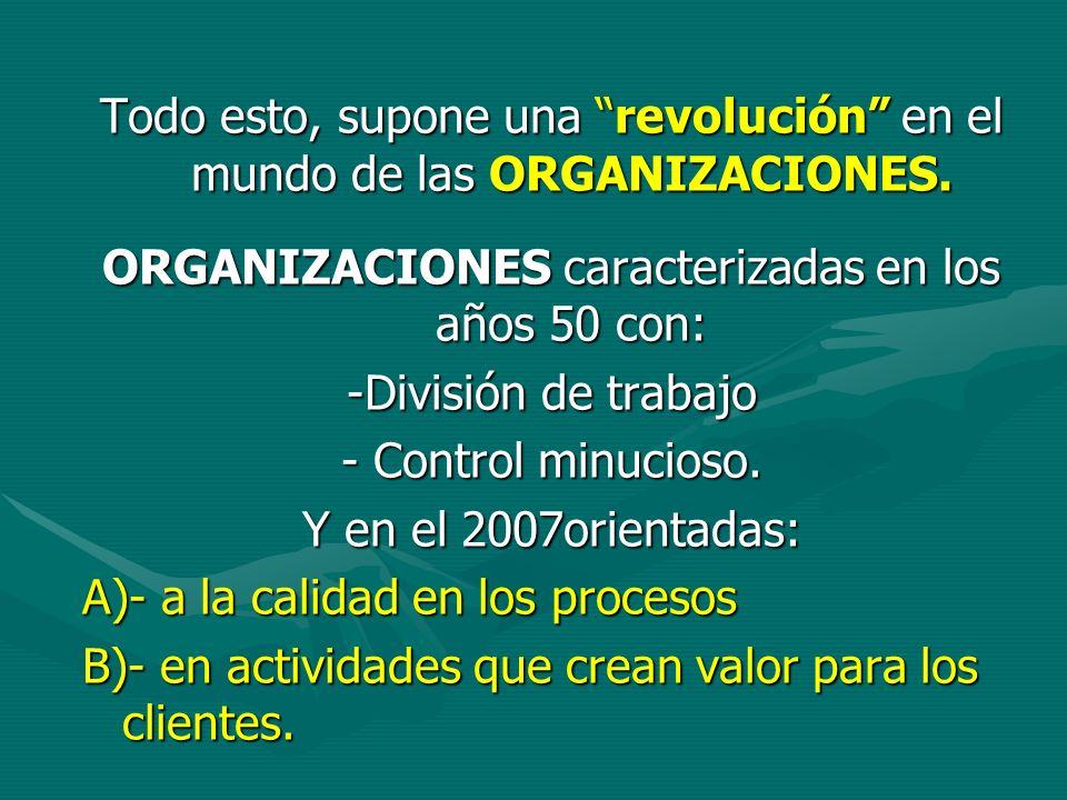 Todo esto, supone una revolución en el mundo de las ORGANIZACIONES. ORGANIZACIONES caracterizadas en los años 50 con: -División de trabajo - Control m