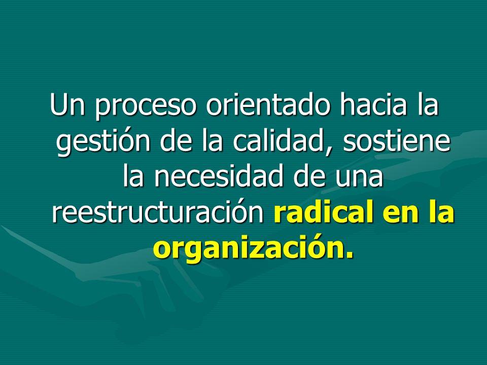 Un proceso orientado hacia la gestión de la calidad, sostiene la necesidad de una reestructuración radical en la organización.