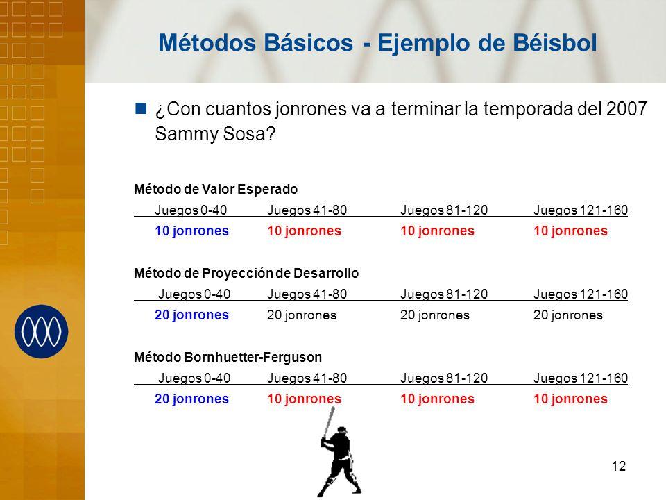 12 ¿Con cuantos jonrones va a terminar la temporada del 2007 Sammy Sosa? Método de Valor Esperado Juegos 0-40Juegos 41-80Juegos 81-120Juegos 121-160 1