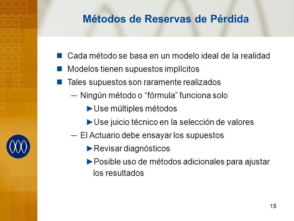 15 Métodos de Reservas de Pérdida Cada método se basa en un modelo ideal de la realidad Modelos tienen supuestos implícitos Tales supuestos son rarame