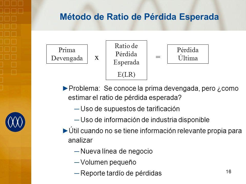 16 Método de Ratio de Pérdida Esperada Problema: Se conoce la prima devengada, pero ¿como estimar el ratio de pérdida esperada? Uso de supuestos de ta