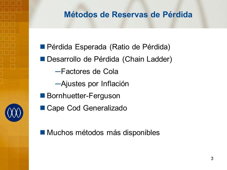 3 Métodos de Reservas de Pérdida Pérdida Esperada (Ratio de Pérdida) Desarrollo de Pérdida (Chain Ladder) Factores de Cola Ajustes por Inflación Bornh