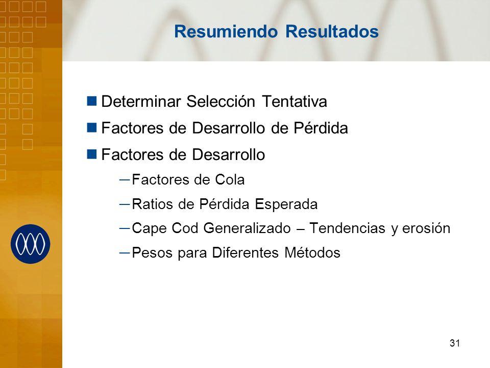 31 Resumiendo Resultados Determinar Selección Tentativa Factores de Desarrollo de Pérdida Factores de Desarrollo Factores de Cola Ratios de Pérdida Es