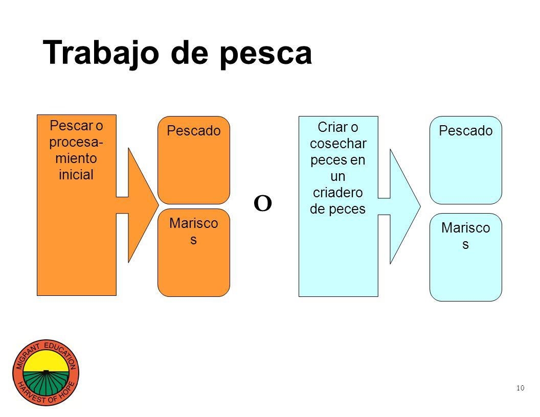 10 Trabajo de pesca Pescar o procesa- miento inicial Pescado Marisco s Criar o cosechar peces en un criadero de peces Pescado Marisco s O