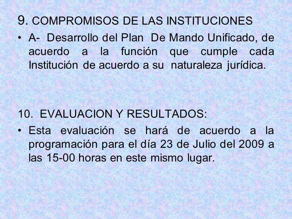 9. COMPROMISOS DE LAS INSTITUCIONES A- Desarrollo del Plan De Mando Unificado, de acuerdo a la función que cumple cada Institución de acuerdo a su nat