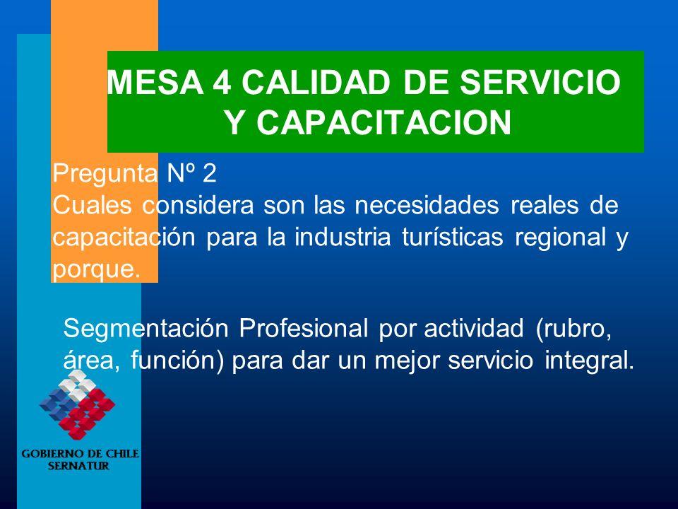 MESA 4 CALIDAD DE SERVICIO Y CAPACITACION Pregunta Nº 2 Cuales considera son las necesidades reales de capacitación para la industria turísticas regio