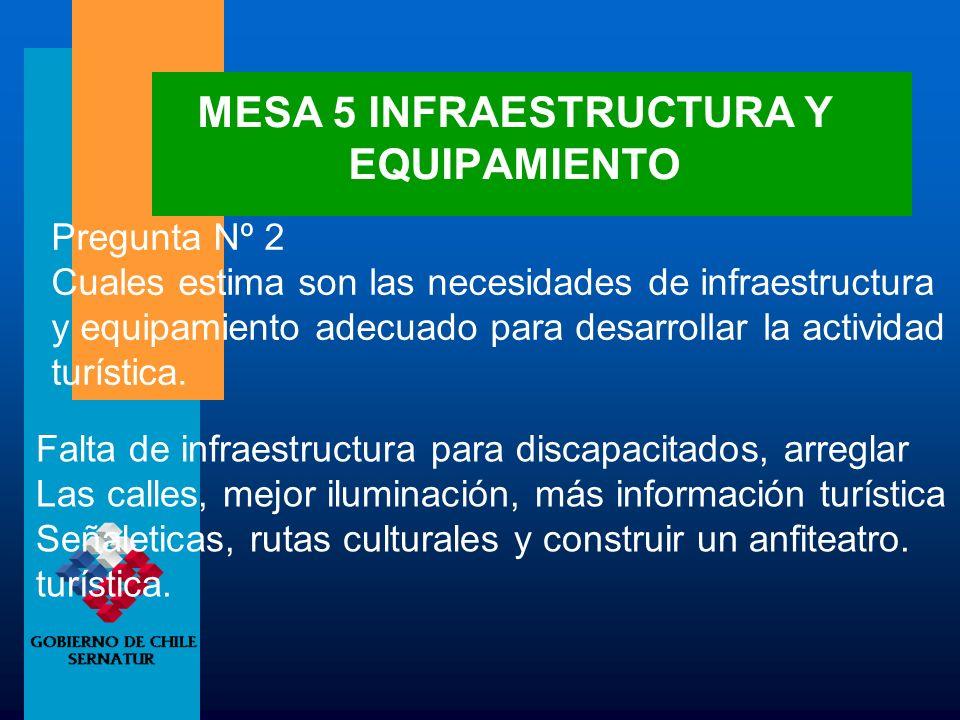 MESA 5 INFRAESTRUCTURA Y EQUIPAMIENTO Pregunta Nº 2 Cuales estima son las necesidades de infraestructura y equipamiento adecuado para desarrollar la a