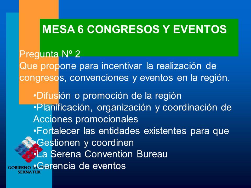 MESA 6 CONGRESOS Y EVENTOS Pregunta Nº 2 Que propone para incentivar la realización de congresos, convenciones y eventos en la región. Difusión o prom
