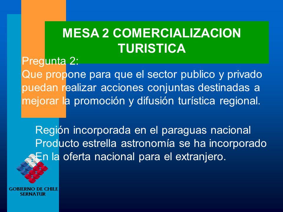 MESA 2 COMERCIALIZACION TURISTICA Pregunta 2: Que propone para que el sector publico y privado puedan realizar acciones conjuntas destinadas a mejorar