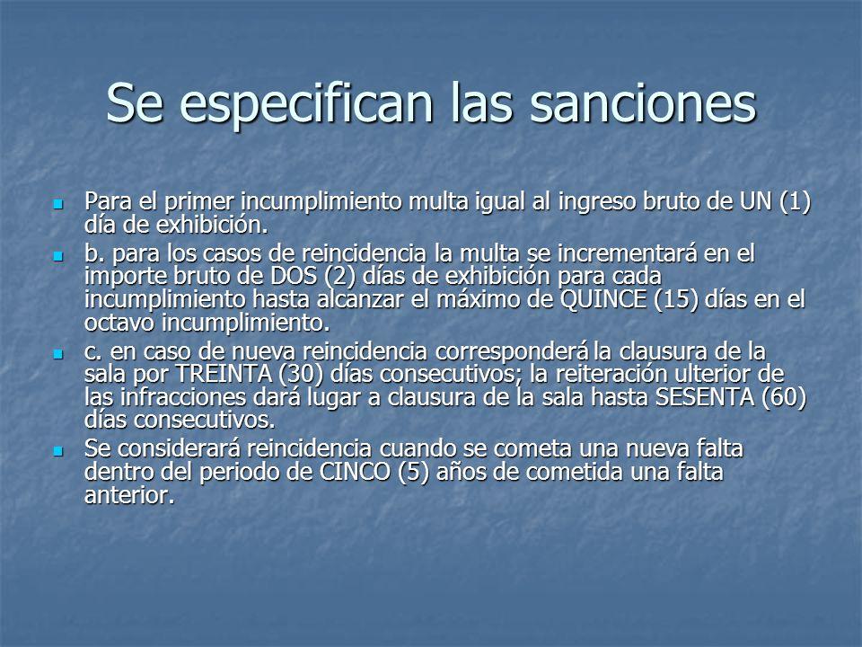 Se especifican las sanciones Para el primer incumplimiento multa igual al ingreso bruto de UN (1) día de exhibición. Para el primer incumplimiento mul