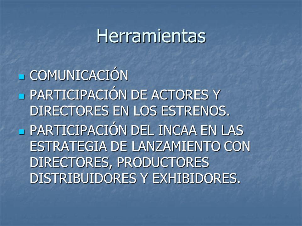 Herramientas COMUNICACIÓN COMUNICACIÓN PARTICIPACIÓN DE ACTORES Y DIRECTORES EN LOS ESTRENOS. PARTICIPACIÓN DE ACTORES Y DIRECTORES EN LOS ESTRENOS. P