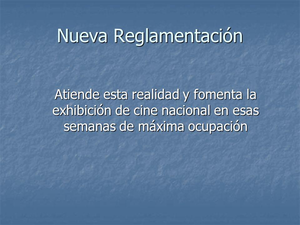 Nueva Reglamentación Atiende esta realidad y fomenta la exhibición de cine nacional en esas semanas de máxima ocupación