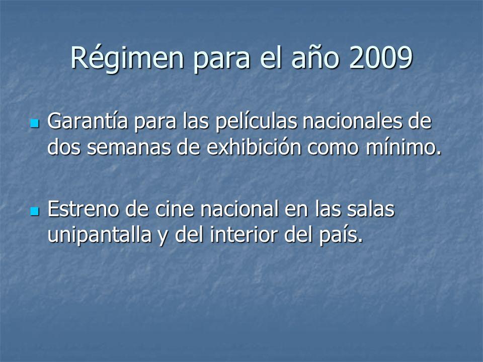 Régimen para el año 2009 Garantía para las películas nacionales de dos semanas de exhibición como mínimo. Garantía para las películas nacionales de do